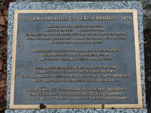 Cutler-Donahoe Covered Bridge info