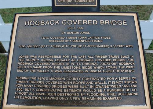 Hogback covered bridge info