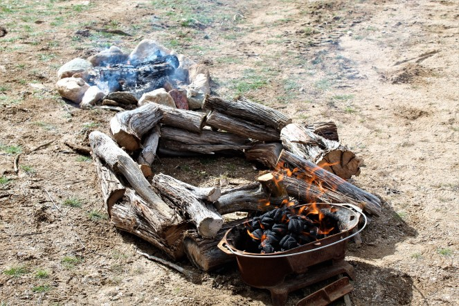 Campfire and windbreak for the dutch oven